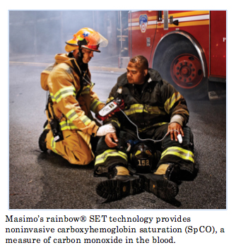 Firefighters using Masimo rainbow SET technology to measure carbon dioxide levels in their blood after fighting fire
