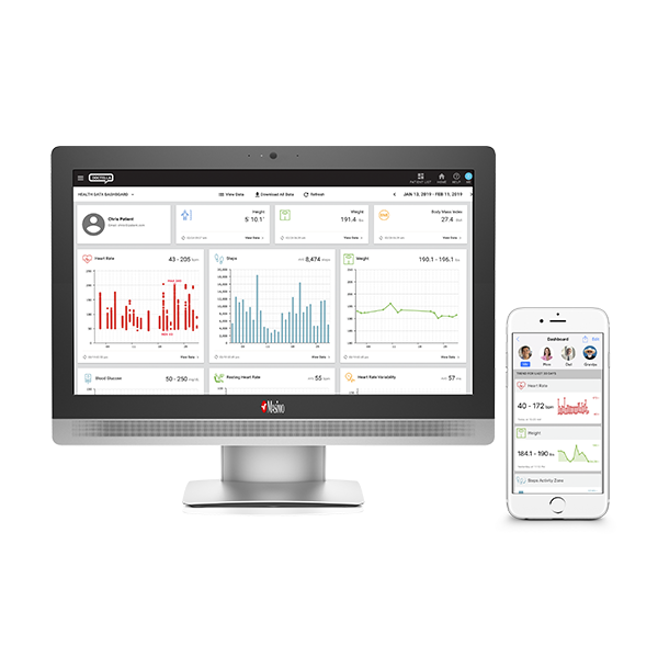 Masimo - Doctella hospital desktop screen and patient mobile phone screen